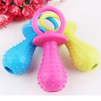 Wholesale New Rubber Pacifier for Pet Toys Dog Cat Puppy Chew Toys with Bell Sound Inside Squeak Toys Pet Shop B2093