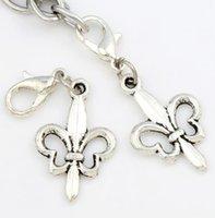 fleur de lis - Hot x36 mm Antique silver Fleur de lis Flower Lobster Claw Clasp Charm Beads Jewelry DIY C1612