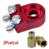 Wholesale 2Pcs Universal Aluminum Oil Cooler Filter Sandwich Adaptor Plate AN10 Red