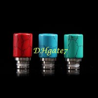 turquoise stones - Natural stone turquoise drip tip top selling jade ceramic turquoise mouthpiece for vape rda rba