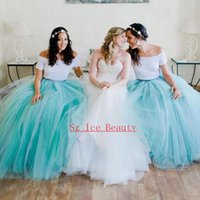 aqua blue dress shirt - Two Piece Long Puffy Bridesmaid Dresses With Sleeves Off Shoulder Tulle Skirt Aqua A Line Vestido Longo Bridal Gown Party Dress