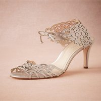 glam - 2015 Elegant Glam Wedding Shoes Vintage Lace Laser cut High Heels Stiletto Sandals Bridal Shoes Bridal Accessories Custom Made