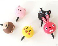 anime ear plugs - DHL FEDEX ks kawaii cartoon animal Anti dust plug for cell phone kpop style cute anime ear jack headphones cap