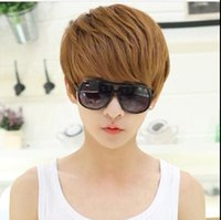 Wholesale cheap short brown wigs for handsome man high quality cool korean men wigs natural hair synthetic short cosplay male hair wigs