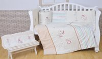 bassinet sheets - 2016 Year White cotton Embroidery lovely pony baby bedding set quilt pillow bumper bed sheet item crib bedding set A T