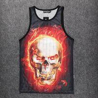 Wholesale w20151219 Alisister Harajuku Skull Tank Top Unisex for men women vest Summer d sleeveless T shirt flower fire tank tops XXL