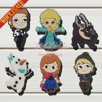 anna clogs - New Hot Elsa Anna PVC Shoe Charms Shoe Buckles Fit shoes wristbands Lovely Shoe Accessorie For Kids Party Gifts