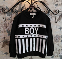 hip hop clothing - 2015 Spring Boys Girls Long Sleeve Hoody Fleece T Shirts Hip Hop Style Stripes Cotton Children Kids Clothing Tops White Black K3533