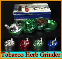 Wholesale Aluminium Alloy Tobacco Herb Grinder Pocket Parts layer HAND hand grinder herb Cigarette Smoking Spice Crusher with handle rolling