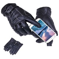 Wholesale S5Q Men Black Soft PU Leather Five Fingers Gloves Winter Warm Coral Fleece Lined Gloves Touch Screen AAAEGL