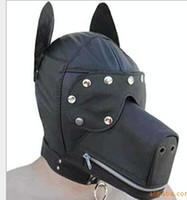 adult dog mask - 2014 New Ultimate Leather Dog Hood Adult Face Mask Fetish Fantasy Sex Slave Set Cosplay