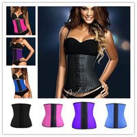 rubber corsets - 2015 Steel Boned Waist Trainer Rubber Latex Corset Deportiva Sport Latex Waist Cincher Corset Underwear Bustiers Slimming Body Shaper S XL