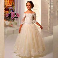 Wholesale Pretty Lace Flower Girls Dresses A Line Bateau Kids Floor Length Flower Girl Gowns for Wedding Communion Half Sleeves Birthday Girl Dress