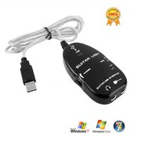 Wholesale Guitar Bass to USB Interface Link Audio Cable MAC PC Recording Record CD Black White USB Guitar Link