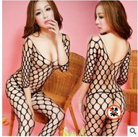 fishing net - Sexy Lingerie Transparent Open Crotchless Body Stockings Fish Net Babydoll Lingerie Bodysuit Jacquard Nylon Netting Large Mesh Racy Netting