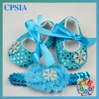 Wholesale 2015 Frozen baby girls Sequins shoes set with hairwear baby shoes toddler shoes infant shoes Baby First Walker Shoes