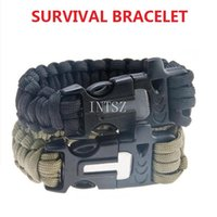 Wholesale Magnesium Flint Fire Starter Striker In Kit Survival Bracelets Paracord Whistle Gear Buckle Camping Ignition Equipment Tool Free Ship