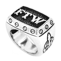 Wholesale FTW Middle Finger Biker Ring Stainless Steel Jewelry Fashion Mechanical Screw Motor Biker Men Ring SWR0376A