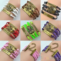 Wholesale Retro Multilayer Owl Leather Cuff Bracelet Handmade Braided Chain Bangle for Women OE4
