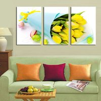Cheap 3 Panel Yellow roses Modern Painting Canvas Wall Art Picture Home Decoration Living Room Canvas Print--Large Canvas Art Unframed