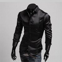 amazon slip - Men s silk slip Amazon trade glossy men s casual long sleeved shirt men cultivating long sleeved shirt
