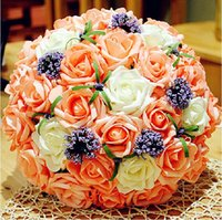 Wholesale 2015 Hot Sale Wedding Bouquets Handmade Rose Flowers Diameter cm Three Colors Available Champagne Red Pink Bridal Bouquets On Sale