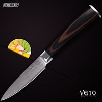 best paring knives - ZEMEN damascus pattern knife sharp inch paring knife damascus VG10 stainless steel cooking tools kitchen knives a best gift