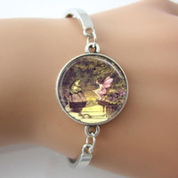 antique princess rings - Frog And Fairy Picture Glass Dome Bracelets Bangle The Princess and Fairy Bracelet Plated Antique Silver Rhodium New Design