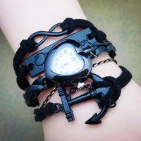 achat en gros de bracelet en cuir noir infini d'ancrage-Noir Bracelet montre Infinity Ancre une direction coeur Bracelet fait main Montre Cuir Qutaz WristWatch WA0076