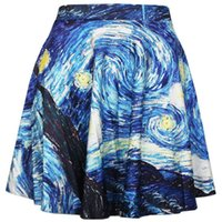 Spandex Above Knee Women New 2015 Sexy Women Elegant Blue Ink Painting Art Skirt - Limited 3d Digital Printing Maxi Pleated Skirts Girl Casual Skirt