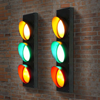 american signal - Green Red Yellow Light Color Black American Style Traffic Signal LED Wall Light Lamp Bedroom Corridor Aisle Passage