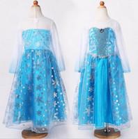 achat en gros de nouvelles robes de filles de noël-Pas cher robe d'été 2 014 fille robe de soirée anna costume de princesse bébé filles robe tutu elsa nouvelle robe rose de Noël congelé