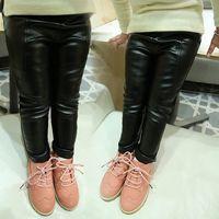 Cheap European Style Girls Autumn Winter Leather Pants Children Skinny Tights Child Thicken Cotton Legging Tousers Leggings 80-100cm Black E1264