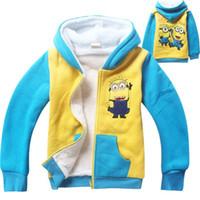 Wholesale 2015 Autumn Winter thicken warm outwear coat boys velvet jacket children Minions hoody hoodies sweatshirt