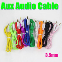 Wholesale Gold Braided Woven Audio Cables Male to Male Stereo Car Extension AUX Cord mm For Samsung Galaxy S5 S4 CAB077