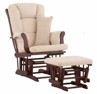 armed ottoman - American Wood Rocking Chair Glider Rocker And Ottoman Set Living Room Furniture Luxury Comfortable Sliding Rocking Arm Chair