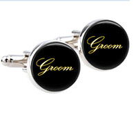 Wholesale 3 pairs sliver wedding cufflinks Elegant Groom cuff links Round glass handmade cufflinks gold wedding cuff links