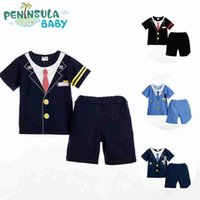 factory direct clothing - boys preppy T shirt and shorts clothing set summer fashion preppy shirt and shorts piece clothing set factory direct