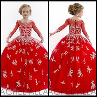 Wholesale Fantastic Beaded Elegant Red Long Sleeves Girls Pageant Dress Beaded Little Rachel Allan Pageant Dresses For Pageant
