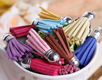 Wholesale 40mm Mix Color Suede Tassel For Keychain Cellphone Straps Jewelry Charms Leather Handmade Tassel With Metal Caps Diy Accessories