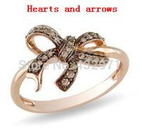 Cheap Free shipping!highest quality 925 sterling silver brown bowknot ring with hearts and arrows cz diamonds ,bow tie shape ring