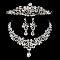 Wholesale Rhinestone Crystal Tiaras and Crowns Bridal Wedding Pageant Party Fashion Big Drop Earrings and Necklace Jewelry Set DDS6032