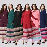 Women arab clothing - 2016 New Fashion Muslim Dresses Chiffon Arab Women Robes Long Sleeve Islamic Ethnic Clothing Middle East Casual Stripe Dress Junj018