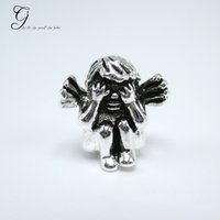 baby seeing - Fits Pandora Charm Bracelet Shy Angel See No Evil Beads Silve Cute Baby Loose Charms For Diy European Style Snake Charm Chain Necklace
