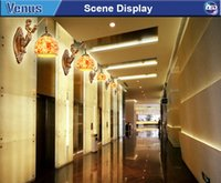 Wholesale antique european style resin high quality glass led wall light for sitting room wall lamp decoration bar off