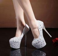 fine glitter - 2015 wedding party shoes exquisite diamond ultra high heels fine documentary shoes waterproof CM nightclub sexy wedding shoe