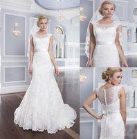 Wholesale 2015 designer dresses Bateau Illusion Neckline Lace Cap Sleeve Mermaid Wedding Dresses Chapel train Bridal Gowns Covered Button Wedding