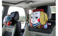 Wholesale Poker car headrest four characters J Q K and Clown express delivery Fluffy soft and comfortable