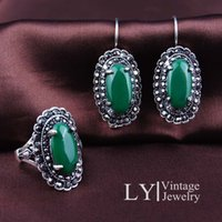 Wholesale Retro palace luxury and emerald glass earrings and rings jewelry dress suits alloy plating