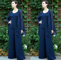 mother of the bride - Navy Blue Chiffon Three Pieces Mother of the Bride Pant Suits with Jackets for Mothers Bride Trousers Jewel Neck Beaded Formal Groom